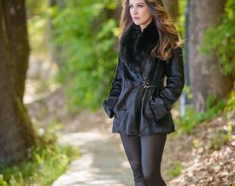 Black pony fur coat with black fox! Latest fur fashion trends at FurBrand!