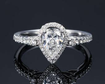 Pear Cut Halo Diamond Engagement Ring 14k White Gold or Yellow Gold or Rose Gold Art Deco Diamond Ring Proposal Ring