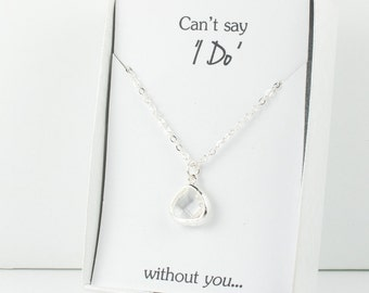 Crystal Silver Necklace, Bridesmaid Crystal Necklace, Clear and Silver Necklace, Crystal Wedding Accessory, Bridesmaid Jewelry
