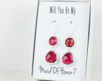 Long Ruby Silver Earrings, July Birthstone Earrings, Red Silver Earrings, Bridesmaid Earrings, Ruby Wedding Jewelry, Bridesmaid Gift