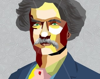 Mark Twain  FRAMED ART, Literature, iconArt, Personalized Gift, Name, City, Gift For Women, Gift For Men, For Grandma, For Grandpa,