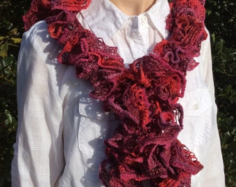 Spiral Ruffled Scarf in Burgundy and Maroon - Hand Crocheted