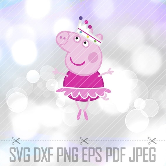 Peppa Pig Ballerina Layered Svg Dxf Vector Cut Files Cricut