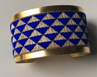 """""""Mini-triangles"""" Golden Cuff Bracelet - """"blue and gold"""""""
