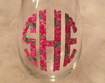 Lilly Pulitzer Inspired Monogram Stemless Wine Glass