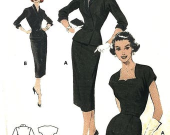 Vintage 1950's Sewing Pattern ROCKABILLY Sheath Dress Cut Out Neckline Bust 36""