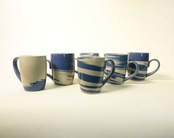 Blue and White Marbled Cups with Handles