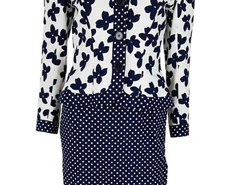 HARDY AMIES Vintage Polka Dot Skirt Floral Jacket Set (10)