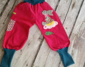 Bunny pants corduroy pants pink petrol