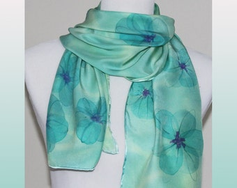 Romantic Silk Scarf, Green and Blue Floral, Silk Charmeuse, Mint Green Silk Scarf, Feminine Floral Design, 14 x 60