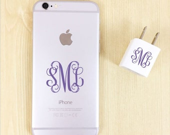 Monogram Decal iPhone, Charger Monogram Decal, Monogram Decal Set