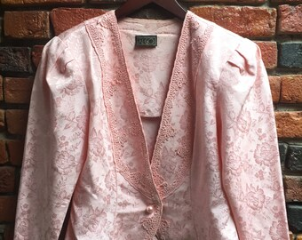 Women's 80s Light Pale Pastel Pink Jacket Blazer With Floral And Lace Details Size Medium Large