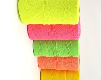 Fluro Macrame Cord 2mm, Very Strong Polyester Yarn, Smooth Dayglow Yarn - Macrame, Warping, Tapestry Warp, Knotting, Braiding, Tasselmaking
