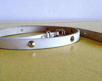 Punk leather white studded skinny belt