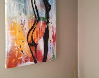 Abstract canvas - unique original woman