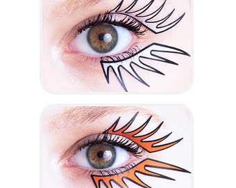 Colored, self-adhesive rock eyeliners: buy this sticker kit for a funky festival or clubbing makeup look