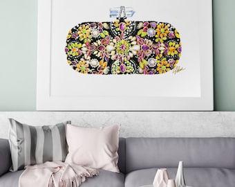 Designer Clutch Illustration, Marchesa, Fashion Accessories, Watercolor Print, Fashion Gift, Fashion Wall Art,