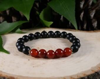 8mm Red and black Gemstone Bracelet