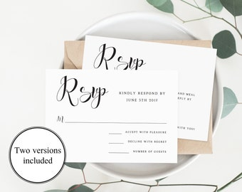 Elegant Wedding Rsvp Cards Wedding Response Cards Editable Rsvp Card  Template Calligraphy Font Rsvp Template Wedding