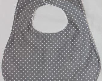 Grey Polka Dot Snap Bib
