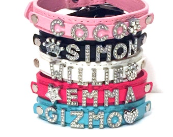 Personalized custom dog/cat/pet collar rhinestone bling bicast leather *FREE SHIPPING*