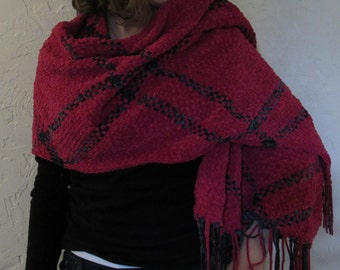 Hand-Woven Hot Pink and Gray Chenille Rectangle Shawl
