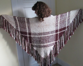 Hand Woven Burgundy and White Triangle Shawl