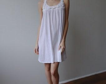 White Crochet Dress 90s // Vintage Sheer Mini Dress Cotton Beach Cover Up - Small