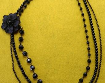 Three Strand Vintage Black Flower Necklace