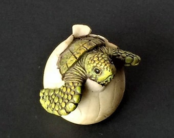 Vintage Turtle Figurine, Turtle Hatching Figurine, Turtle Egg, Turtle Paperweight, Turtle Decor, Miniature Turtle, Father's Day Gift