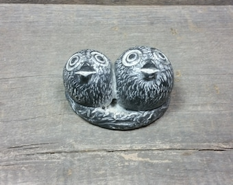 Vintage Eskimo soapstone sculpture of two small birds A Wolf Original Hand made in Canada