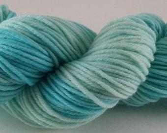 50/50 - Spring Blues  - 100% Superwash Merino Wool SW Hand Dyed Worsted Weight Yarn