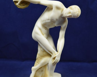 Diskobolus of Myron discus thrower sculpture statue alabaster aged artifact
