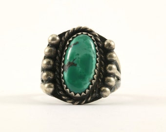 Vintage FA Signed Navajo Oval Green Turquoise Ring 925 Sterling Silver RG 1519