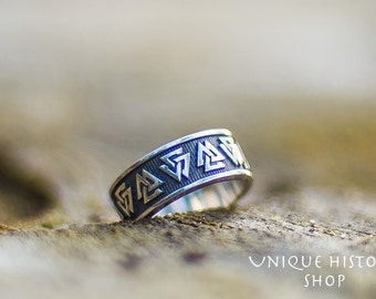 Valknut Ring Viking Symbol Ring Handmade Sterling Silver Norse Jewelry