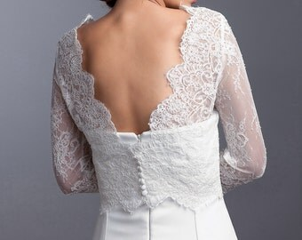 Long sleeve bridal topper, Wedding lace topper, Bridal lace jacket with V back, Bridal jacket, Bridal bolero