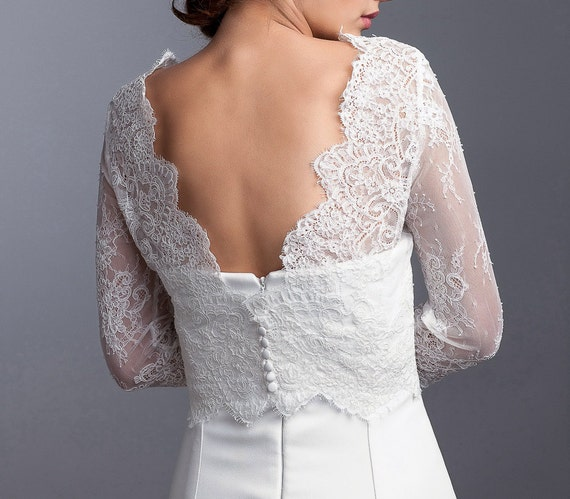 Long sleeve bridal topper wedding lace topper bridal lace for Long sleeve wedding dress topper
