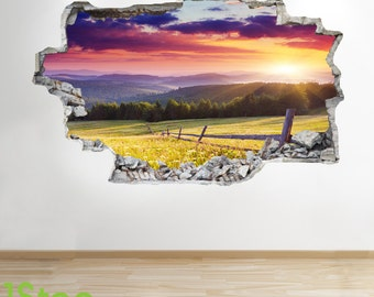 Sunset Mountain Wall Sticker 3d Look - Bedroom Lounge Nature Wall Decal Z215