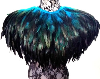 Feather cape. Huge black and teal feather cape. Festival feather jacket perfect for Burning Man. 'Bird of Paradise'