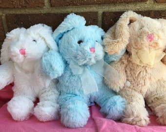 Pesonalized Easter Bunny/Embroidered Easter Bunny/ Easter Bunny, Personalized Stuffed Animal, Bunnies,White,blue,tan