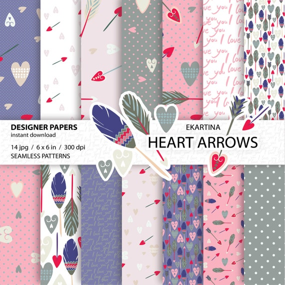 Valentines paper packdigital papersheart arrowseamless valentines paper packdigital papersheart arrowseamless patternslove backgroundsdigital patternsfeathers unique paperfor scrapbooking from ekartina voltagebd Choice Image