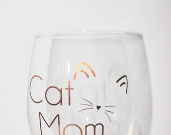 Cat Mom Stemless 21 Ounce Wine Glass | Copper/Gold/Rose Gold Lettering Options | Whiskers & Cat Ears | Mother's Day Gift | Cat Lover Present