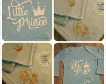 Little Prince, Baby Boy, Blue, Fluffy Soft, 30x40 Baby Blanket and Matching Gown ... Perfect Coming Home Set or Baby Shower Gift