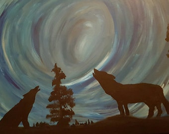ORIGINAL ACRYLIC PAINTING - Howl Into The Night