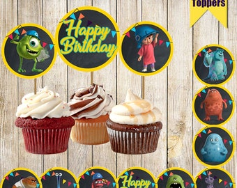 12 Monsters Inc Cupcake toppers-Printable Monsters Cupcake toppers-Digital Cupcake toppers-Monsters Inc Birthday-Monsters Inc Party Decor