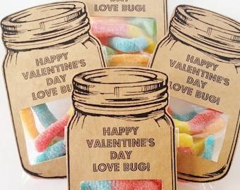 Classroom Valentines, Love Bug Valentine, Candy Valentines Day Treat, Mason Jar Valentines, Valentines for Boys, Teacher Valentines