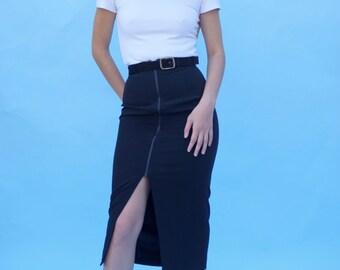 "Black Dana Buchman Zipper Midi Pencil Skirt / Bodycon Zip Up Slit Skirt / XXS / 23"" / 90s"