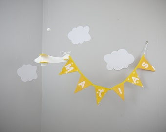 Wooden airplane and personalized name banner. Aviation, airplane, baby mobile. Yellow nursery decor. Baby shower gift. Christening gift.