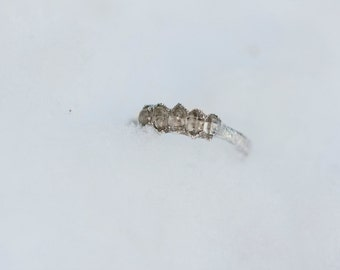 Herkimer Diamond Engagement Ring: raw quartz crystal engagement ring, dainty alternative engagement ring, unique raw rough fine silver band