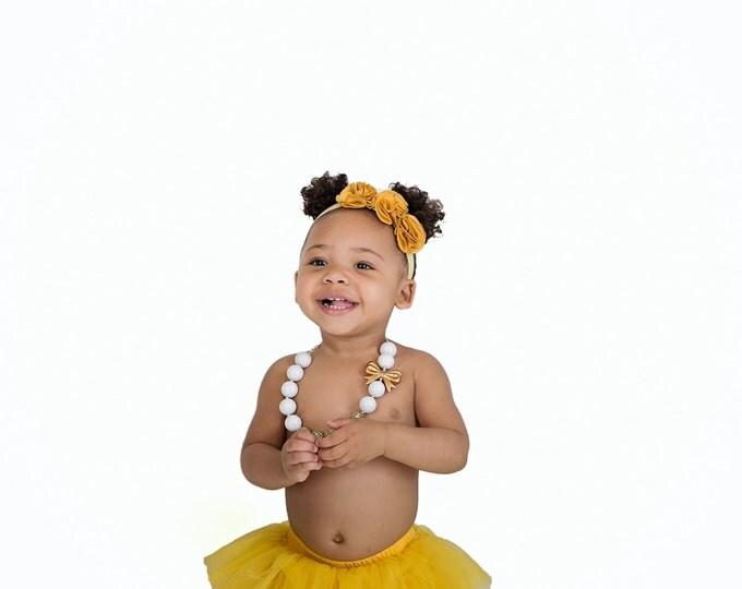 Baby Girls Flower Headband PICK COLOR, photography prop, birthday headband, baby headband, baby bows, golden headband, mustard, yellow, pink